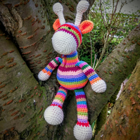 Crocheted stripey giraffe