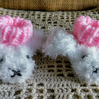 Knitted fluffy bunny booties