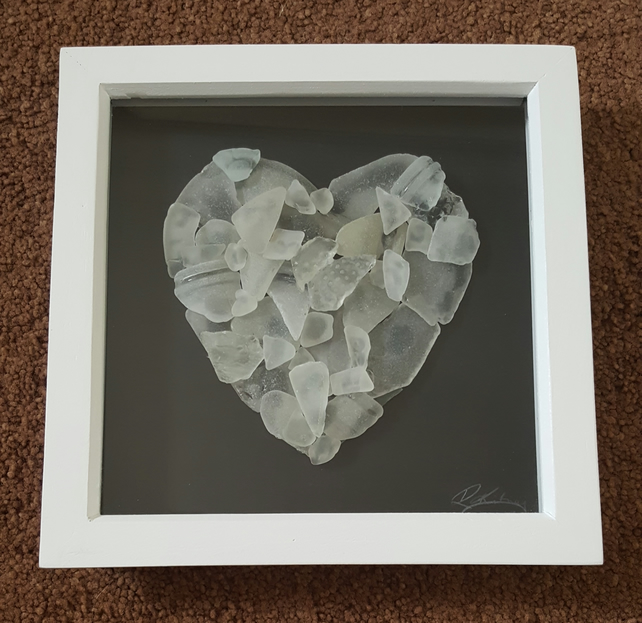 "'Sea Glass Heart'  9""x9"""
