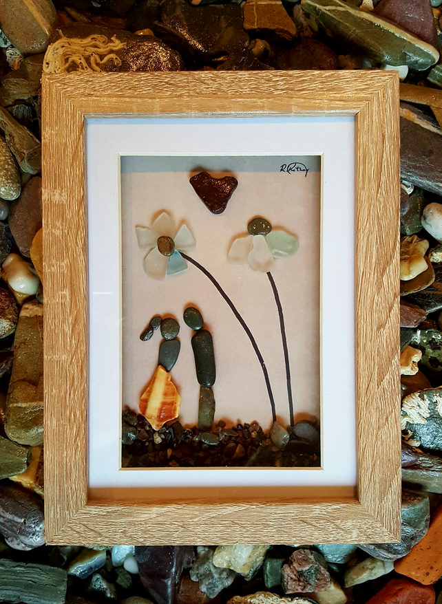 "'Couple and Sea Glass Flowers'  8"" x 6"""