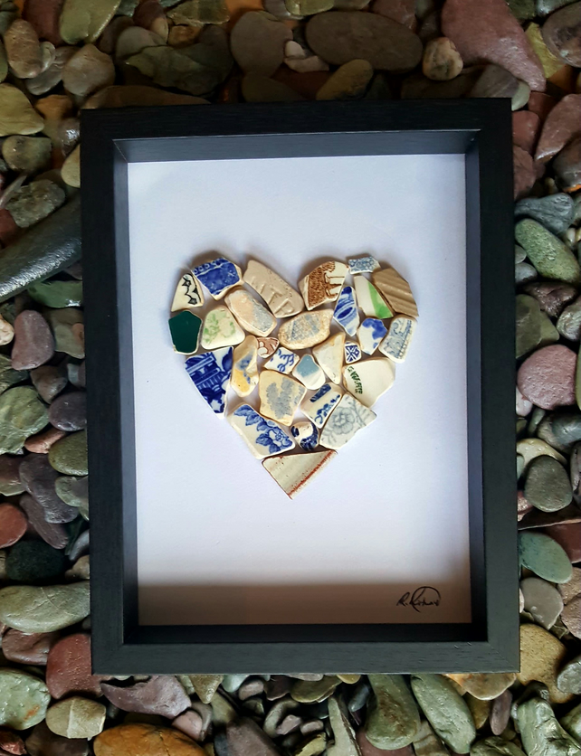 "'Sea Pottery Heart'  8"" x 6"" (TACTILE PIECE)"
