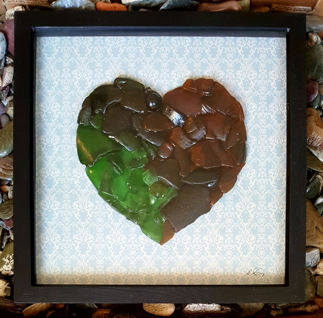 "'Multicoulored Sea Glass Heart'  13"" x 13"""