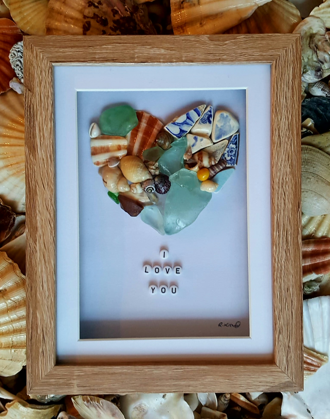 "'Sea Pottery Sea Glass Shell Love Heart'  9"" x 7"""