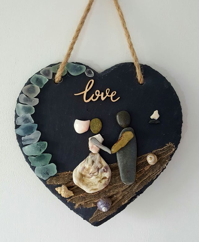 "'Wedding on the Beach' 8"" x 8"" Slate Heart"