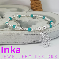 INKA sterling silver beaded bracelet with beautiful Hamsa charm