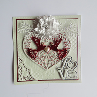 """DOVE HEART"" 3D HAND MADE CARD,BLANK INSIDE,ANY OCCASION"