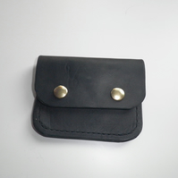 Real Leather Black Coin Purse with Celtic Knot Motif