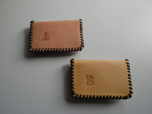 2 pocket coin purse with initials