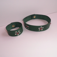 Decorated Leather Choker and Wristband Set