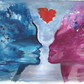 ORIGINAL WATERCOLOUR SILHOUETTE PAINTING ART SURREAL MIND EXPLOSIVE LOVE A4