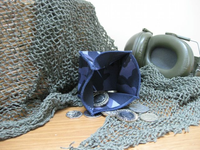 Coin Purse -  Origami Folding Purse - RAF Blue Camouflage