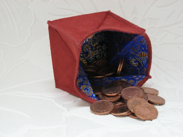 Coin Purse -  Origami Folding Purse - Blue and Red Chinese Styled Satin