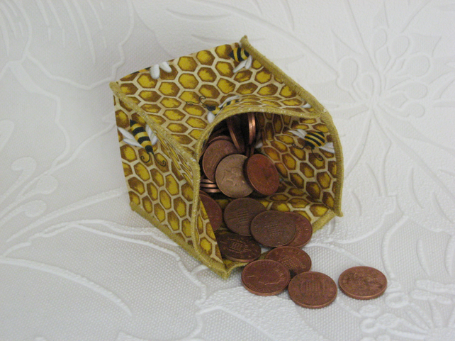 Coin Purse - Origami styled folding purse - Bees