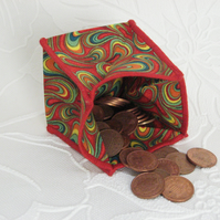 Coin Purse - Origami styled folding purse - Swirls