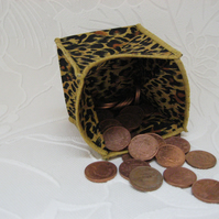 Coin Purse - Origami styled folding purse - Cheetah Yellow Trim