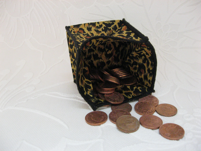 Coin Purse -  Origami Folding Purse - Cheetah Black Trim