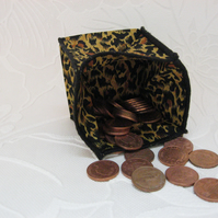 Coin Purse - Origami styled folding purse - Cheetah Black Trim