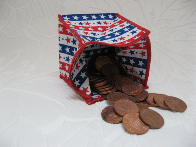 Coin Purse - Origami styled folding purse - Stars and Stripes White
