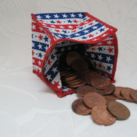 Coin Purse -  Origami Folding Purse - Stars and Stripes White