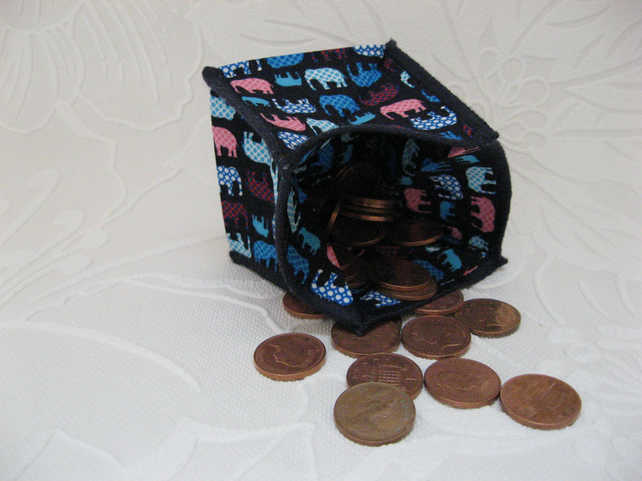 Coin Purse - Origami styled folding purse - Elephants
