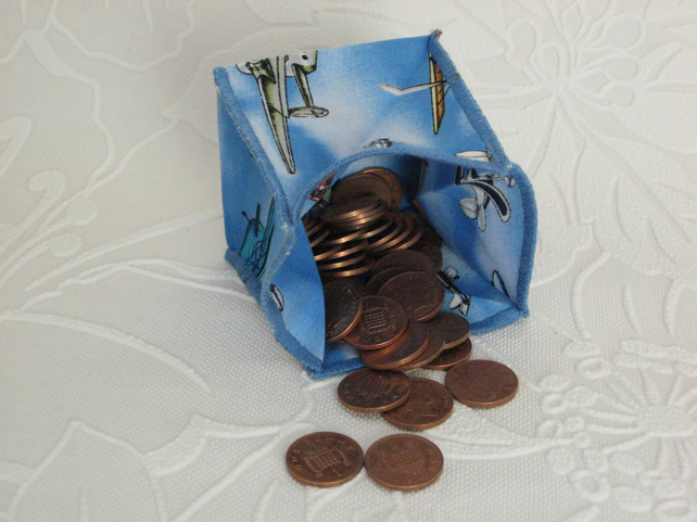 Coin Purse - Origami styled folding purse - Aeroplanes