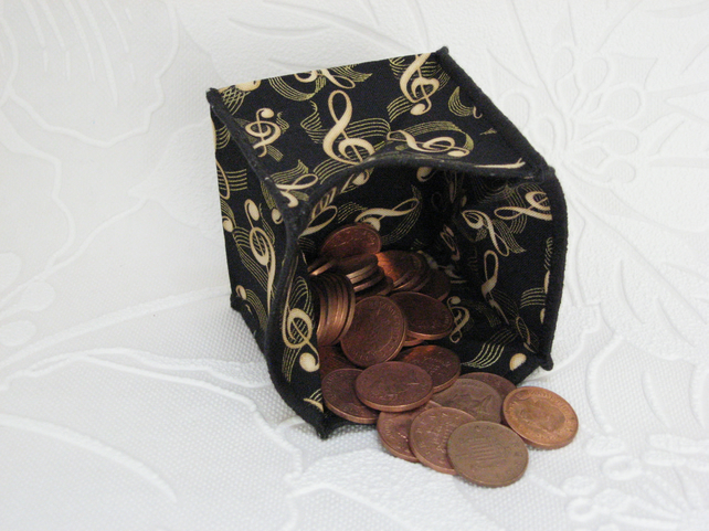 Coin Purse - Origami styled folding purse - Music Notes