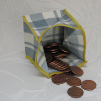 Coin Purse -  Origami Folding Purse - Blue and White Check