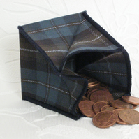 Coin Purse - Origami styled folding purse - Blue Tartan