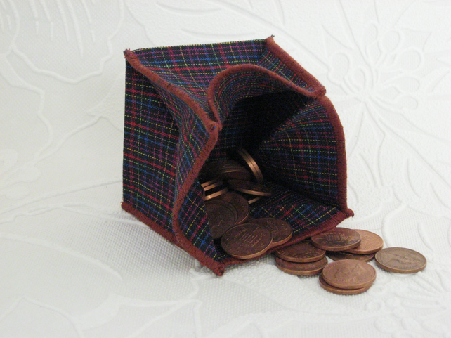Coin Purse -  Origami Folding Purse - Multi Coloured Tartan