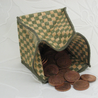 Coin Purse -  Origami Folding Purse - Green and Yellow Check