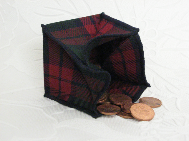 Coin Purse - Origami Folding Purse - Red and Green Check