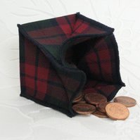Coin Purse - Origami styled folding purse - Red and Green Check