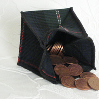 Coin Purse - Origami styled folding purse - Tartan