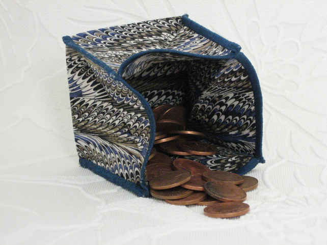 Coin Purse -  Origami Folding Purse - Feathers Blue