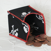 Coin Purse - Origami styled folding purse - White Skulls Red Edge