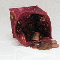 Origami styled folding coin purse - Burgundy Chinese Styled Satin
