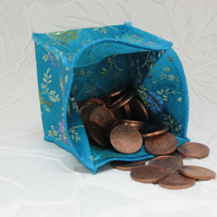Coin Purse - Origami styled folding purse - Chinese Cyan