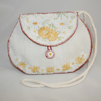 Cream Embroidered Bag from vintage linens