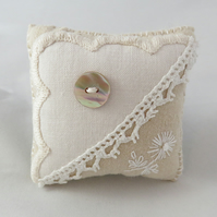 Coffee and Cream Pincushion from vintage linens