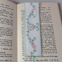 Embroidered Bookmark from vintage linen