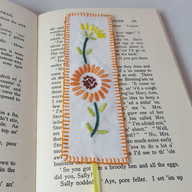 Orange daisy bookmark from vintage linen
