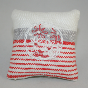 Pin Cushion - red and white,  from vintage linen