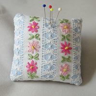 SALE Embroidered Drawn thread Pincushion from vintage linen.