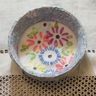 Trinket Bowl - recycled fabric and jar lid