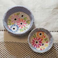 SALE Two nesting trinket bowls from recycled linen