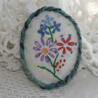 SALE Oval Brooch - flower posy from recycled linen
