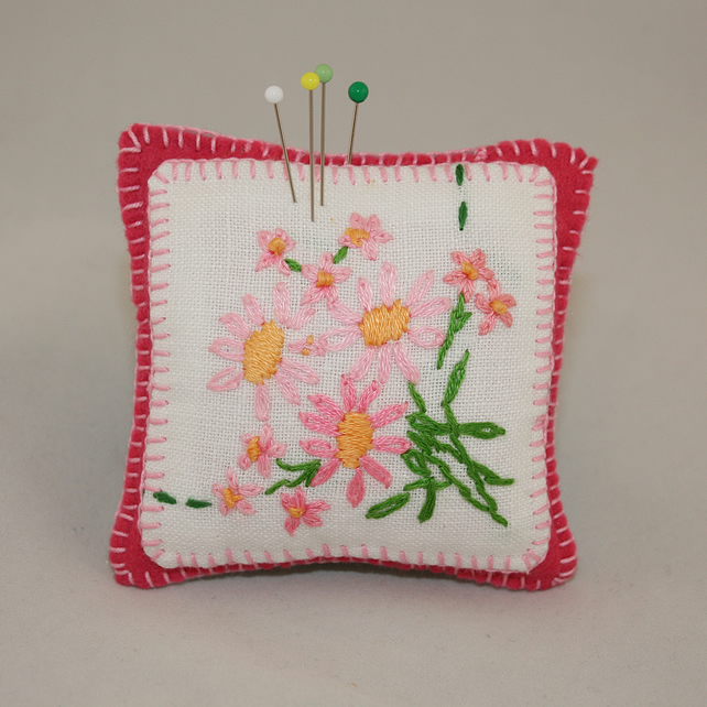 Pin Cushion - pink daisies from vintage linen