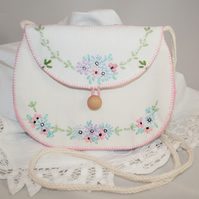 Pink and White Embroidered Bag from vintage linens