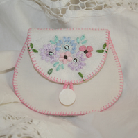 Embroidered Coin Purse from recycled linens