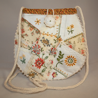 Crazy patchwork bag - white and yellow from vintage linens